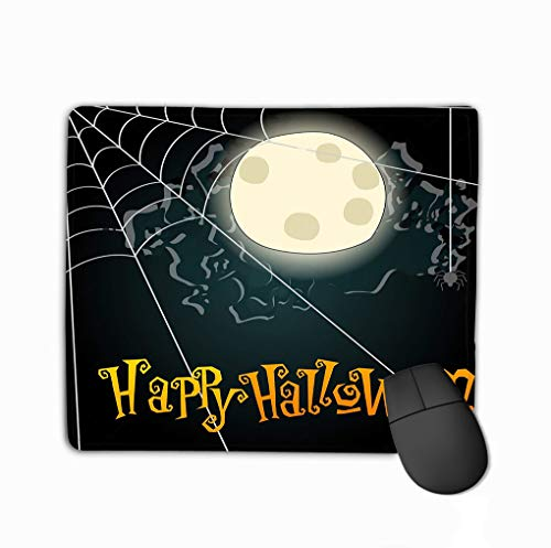 Mouse Pad Halloween Spiderweb Hand Drawn Style Background Full Moon Character Rectangle Rubber Mousepad 11.81 X 9.84 Inch