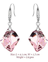 "Young & Forever Valentine Gifts Special ""Aurora"" Pink Crystals From Swarovski Drop & Dangle Earrings For Women..."