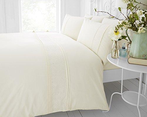 Creme Bestickt Bettbezug Set, 50 % Baumwolle / 50 % Polyester, elfenbeinfarben, Single 135x200cm -