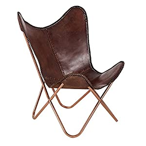 Echtleder Sessel BUTTERFLY Echtes Leder Braun Eisengestell In Kupfer Stuhl  Lounge Esszimmer Klappstuhl Loungesessel Liegestuhl Luxus