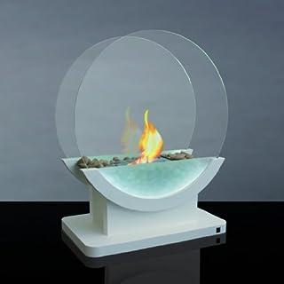 Alfra Feuer Kamin Bioethanolkamin Bioethanol-Kamin Ethanolofen Standkamin EVA8 weiß mit LED Beleuchtung