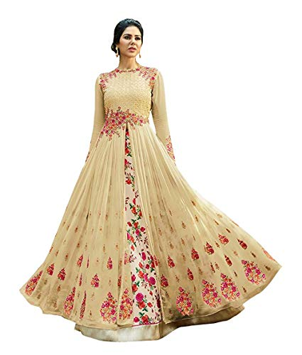 Mashur fab Women's Heavy Embroidered Work Bridal Wedding Gown and Anarkali type suit (off_white_Free size)