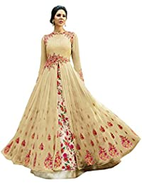 07fcd87ba1 Womens Clothy Women s Heavy Embroidered Work Bridal Gown and Anarkali  (Antalia Cream Free size)