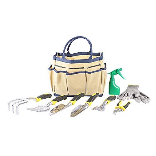TOOGOO 9 Teiliges Garten Werkzeug Set Mit Garten Trage Tasche Und 6 Hand Werkzeugen Ergonomische Griffe Aus Aluminium Guss (16 Unzen Tasche Handschuhe)