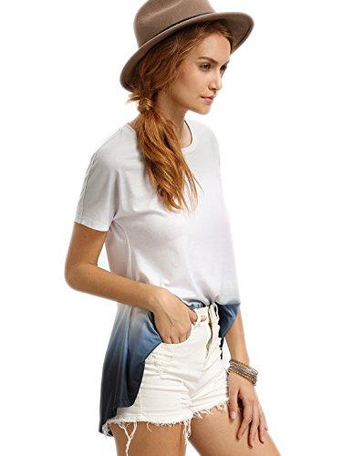 ROMWE Damen Tie-Dye T-Shirt Kurzarm Baumwoll Sommer Top Grau
