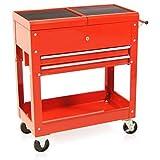 Carro de herramientas con bandeja organizadora color rojo