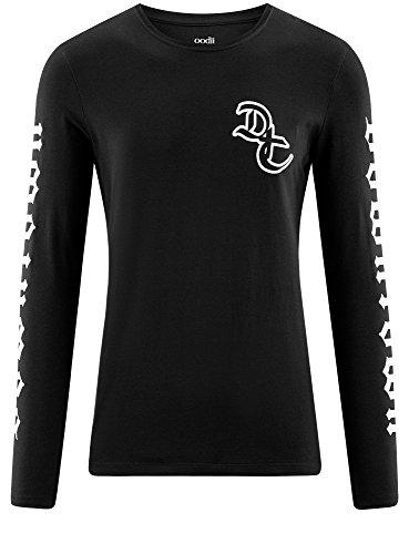 oodji Ultra Herren Tagless Baumwoll-T-Shirt mit Druck Schwarz (2910P)