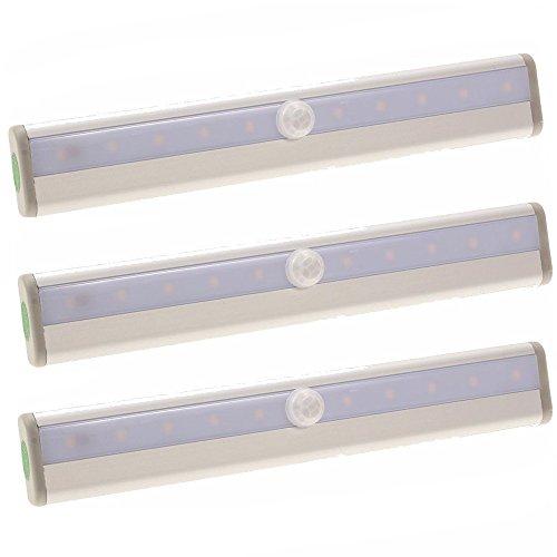 SAILUN 3 Stück LED Nachtlicht Kabellos Aluminium Schranklampe 10 LEDs Automatische Tragbare Lichtleiste Schrankleuchte mit Bewegungsmelder Warmweiß (3 Stück Warmweiß)