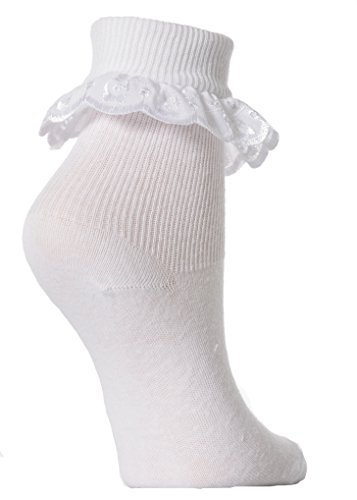 Mädchen Socken mit Rüschen, 3 Paar (EUR 23-26 (2-4 Jahre)) (Weiß) (Socken Weiße Mädchen)