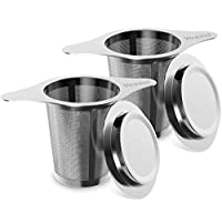 Tea Infuser, Yoassi Pack of 2 Long-Handled Stainless Steel Tea Filter with Lid and Double Handles Large Capacity for Loose Leaf Grain Tea Cups, Mugs, and Pots