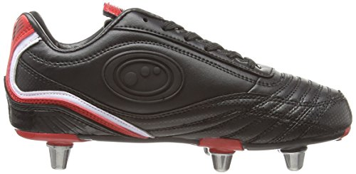 Optimum Blaze 3, Chaussures de Rugby garçon Noir (Noir/rouge)