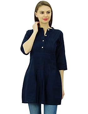 Phagun elegante tapa corta ocasional del algodón túnica de cuello mandarín Kurti elegante de las mujeres