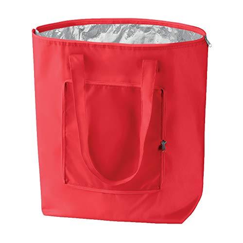 Notrash2003 - borsa per la spesa pieghevole con custodia, leggera e stabile, con rivestimento interno in alluminio, funzione raffreddamento in 6 colori, rot, 41 cm x 44 cm x 14 cm