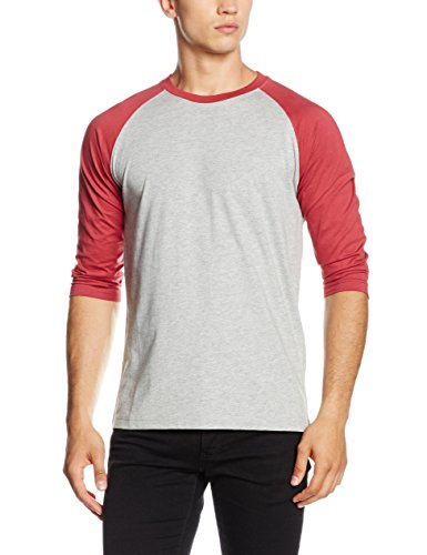 Urban Classics Contrast 3/4 Sleeve Raglan Tee, T-Shirt Uomo, Mehrfarbig (Gry/Ruby 566), S