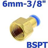 """NO LOGO 1pc air pneumatique de 6 mm OD Tuyau de Pousser dans 1/4 « PT 1/8 » 3/8"""" 1/2"""" BSPT M5 Taraudage gaz en Laiton Rapide de raccord Joint Connecteur (Taille : 1 PC 6 03)"""