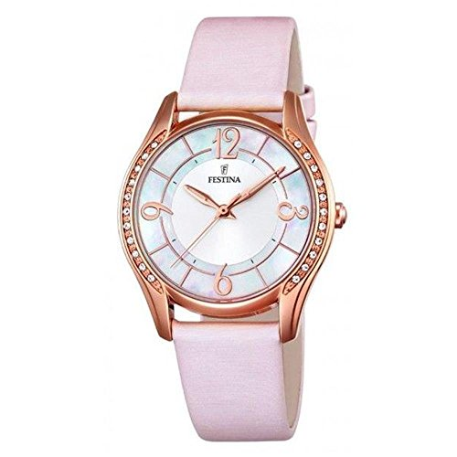 Festina MADEMOISELLE Women's Quartz Watch with Mother Of Pearl Dial Analogue Display and Pink Leather Strap F16946/1