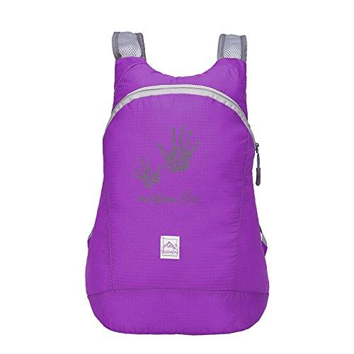 Pieghevole zaino in nylon, impermeabile per sport all' aperto, spazioso scuola escursionismo trekking campeggio viaggio borsa per bicicletta, Fluorescent Green purple