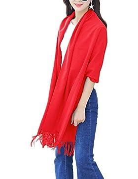 Pashmina de mezcla de cachemira Isassy, de un solo color, de invierno, elegante y larga