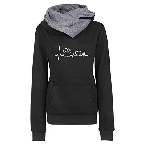 TOPGKD Hoodie Damen Langarm Casual Hoodie Pullover Stickerei Herbst Winter Sweatshirt Bluse Tops (Schwarz, XXL)