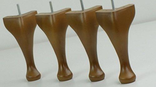 4x Queen Ann gambe in legno massiccio di ricambio piedini per mobili 200mm altezza per sedie, sgabelli M8(8mm) (TSP2061a) Oak