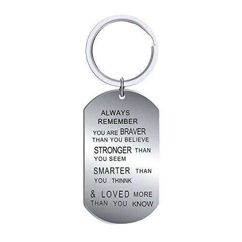 Bespmosp - Llavero con inscripción en inglés «Always remember you are braver than you believe» para amigos y familiares