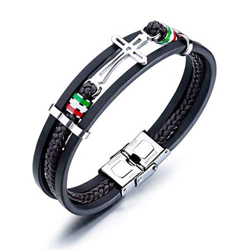 Kimddt Braided Armband-Men Black Quality Original Leder Braided Wrap-Multilayer Men es Armband -
