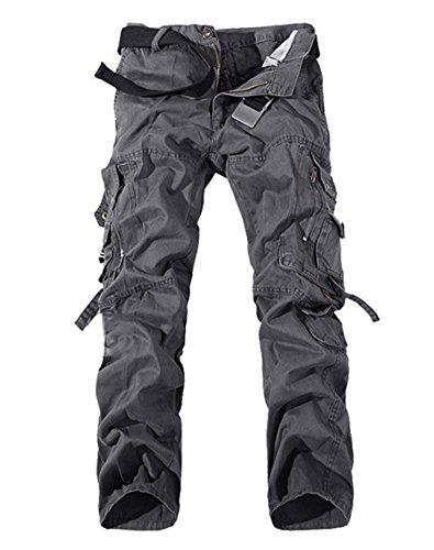 Pantaloni Da Uomo Sportivi Casual Camuffamento Pantaloni Cargo Stile Militare Pants Grigio