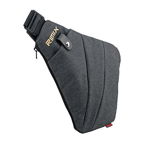 RIMIX Mehrzweck Anti-Diebstahl Versteckte Sicherheitstasche Unterarm Schulter Achselhöhle Kuriertasche Sport Freizeit Brust Tasche Tragbarer Rucksack für Telefon Geld Passport Taktische (Grau/Für Rechtshänder) (Pendler-tasche)