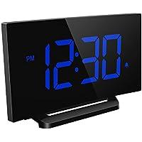 Mpow Reloj Despertador Digital, Mpow Reloj Despertador Digital, Reloj de Pantalla Curva LED de 5 pulgadas y Atenuador, 3 Sonidos de Alarma con 4 Brillo Ajustable, Despertadores de Función Snooze para Dormitorio, Oficina,Cocina (Azul sin Adaptador)