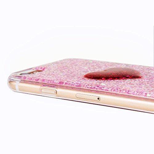 """Housse pour Apple iPhone 7Plus 5.5""""(NON iPhone 7 4.7""""), CLTPY 3D Coloré Scintillement Placage Bordure Case, Ultra Léger Mince Hull de Protection Absorption des Choques pour iPhone 7Plus + 1x Stylet -  Red Heart 1"""