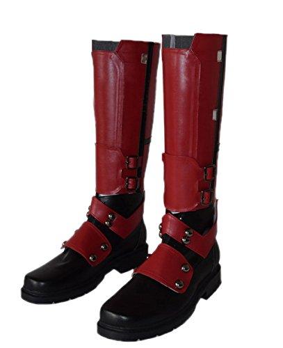 Nexthops Deadpool Schuhe Cosplay Stiefel Glattleder Wade Kostüm Zubehör für Party, Karneval und Fasching aus Leder Rot 2er Set