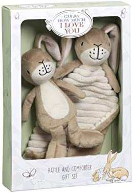 Guess How Much I     You Little NutMarron  Hare Rattle & Comfort Blanket Gift Set Coffret Cadeau, GH1515, Marron | Insolite  832772