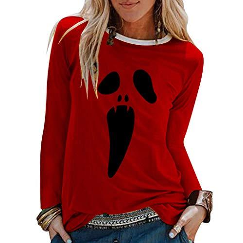 XINAINI Frauen Langarm T-Shirt Mit Rundhalsausschnitt,LangäRmliges Halloween-Shirt FüR Damen, Wildes Hemd Mit Grimasse-Aufdruck, Lockeres T-Shirt, Herbstbekleidung