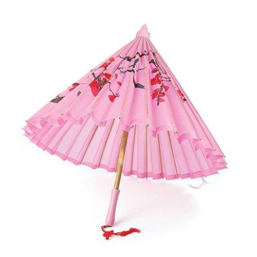4Sonnenschirm Rosa Seide mit Holzgriff, eine Größe (Geisha Kostüm Ideen)