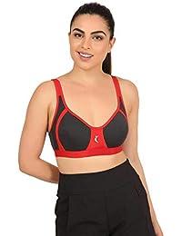 f90368f8d0 UltraFit Women s Designer Red   Black Cotton Sports Bra with Back Hooks