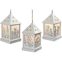 WeRChristmas Pre-Lit Christmas Hanging Lantern, Wood, 12 cm - White, Set of 3