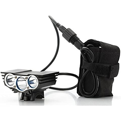 Theoutlettablet® Luz delantera - Foco frontal para Bici 6000 lúmenes Linterna LÁMPARA TORCH frontal 3x CREE XM-L U2 LED de bicicleta /bici lámpara Luz LED frontal para manillar de bicicletas (3 focos, 6000 Lumens) con batería y cargador COLOR NEGRO