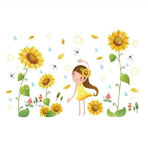 Mode Étanche Autocollant Mural DIY Amovible Art Papier Peint pour Bébé Garçon Fille Chambre Cuisine Fenêtre,Sunflowers Pretty Girl