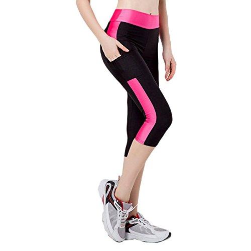 Fletion Frauen Mädchen Enge Stretch Sport Jogging Yoga geerntete Hose Sporthose Kompression Gamaschen Hosen (Stretch Kinder Eng)