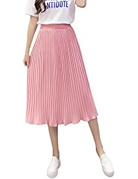 8cc24ae534bf69 Damen Faltenrock Lang Sommer Mode Elegant Elastische Hohe Taille A-Linie  Röcke Plisseerock Einfarbig Festlich