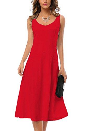 WIWIQS Frauen klassische 1950er Jahrgang Hepburn Kleider mittel rot (1950er Modeschmuck)
