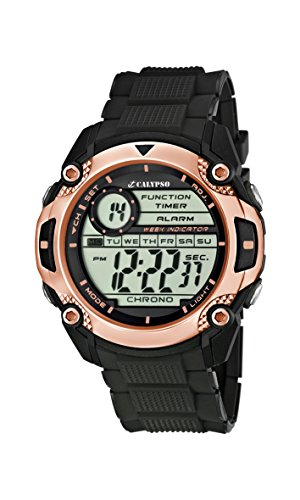 Calypso Men's Digital Watch  LCD Dial Digital Display  Black Plastic Strap K5577/6
