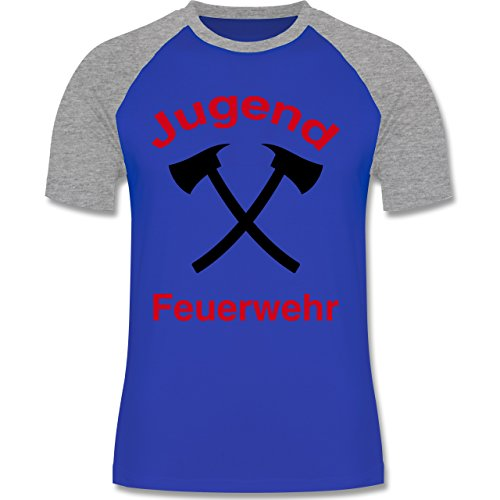 Feuerwehr - Jugend Feuerwehr - zweifarbiges Baseballshirt für Männer Royalblau/Grau meliert