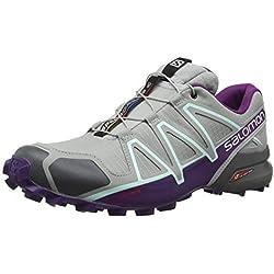 Salomon Women''s Speedcross 4 - Zapatillas Para Mujer, Gris (Quarry/Acai/Fair Aqua), 39 1/3 EU