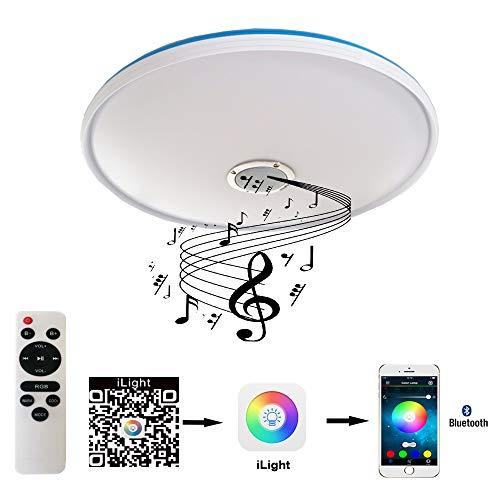 Natsen Bluetooth Deckenleuchte Lautsprecher Lampe mit Ferbedienung 3 Farbe auswählbar 24W Weiss (Bluetooth-lichter)