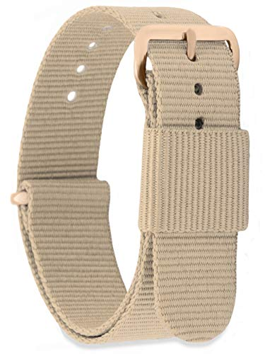 MOMENTO Damen Herren NATO Nylon Ersatz Uhren-Armband mit Edelstahl-Schliesse in Rose-Gold und Nylon-Armband in Beige 16mm (Navy Leder Uhrenarmband)