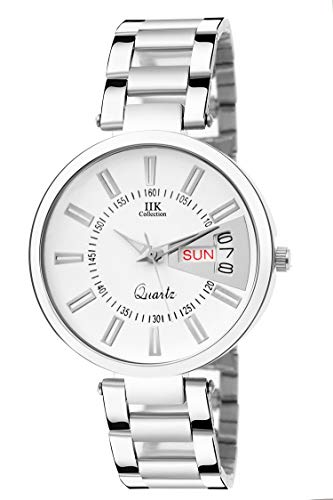 IIk Collection Watches Stainless Steel Chain Day and Date Analogue White Dial Women's Watch