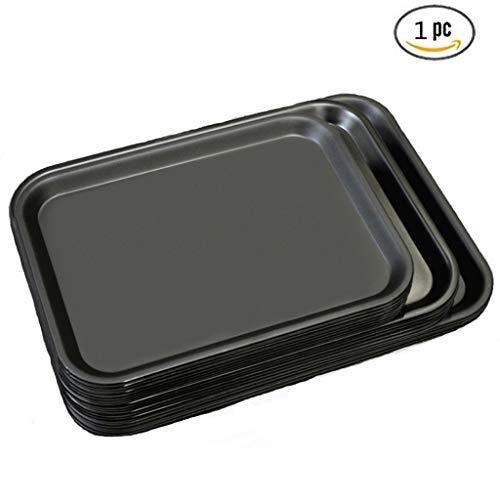 (Zzaini Rechteck Nisten Tablett,Kunststoff Brot backformen Betttablett Tablett Käse-Brett Snack-Schale Tee-Platte Für Home küche Restaurant-schwarz 43x32cm)