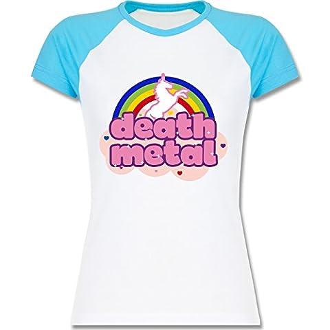 Einhörner - Death Metal Einhorn - XXL - Weiß/Türkis - L195 - zweifarbiges Baseballshirt / Raglan T-Shirt für (Weiß Damen Strass-herz-t-shirt)