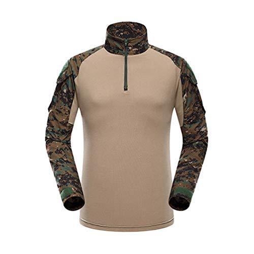 YuanDian Herren Frösche Schlank Passen Tarnung Airsoft Taktisch Militär T-Shirt Militärhose Sets Langarm Camo Armee Top + BW Feldhose Outdoor Camping Uniform Dschungel Digital Shirt S -